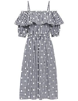 Cold Shoulder Floral Appliquéd Gingham Cotton Poplin Midi Dress by Perseverance