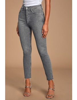 Nico High Rise Grey Slim Leg Cropped Jeans by Agolde