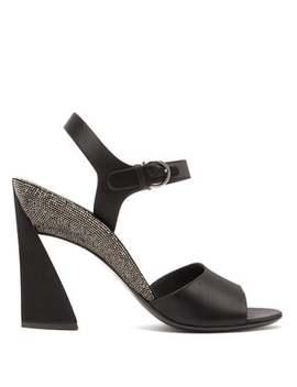 Aede Crystal Embellished Satin Sandals by Salvatore Ferragamo