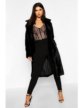 Textured Faux Fur Belted Coat by Boohoo