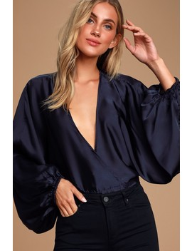 Midnight Vibes Navy Blue Satin Long Sleeve Surplice Top by Free People