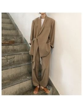 Shelby   Tie Front Shawl Collar Blazer / Gather Cuff Straight Cut Plain Pants by Shelby