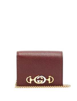 Zumi Chain Handle Grained Leather Wallet by Gucci