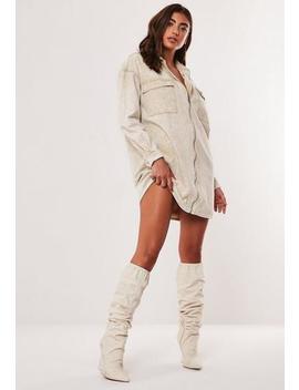 Sand Utility Pocket Zip Oversized Denim Shirt Dress by Missguided