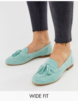 Asos Design Wide Fit Message Suede Tassel Loafers In Mint by Asos Design