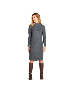Grey Cable Stitch Sweater Dress by Lands' End