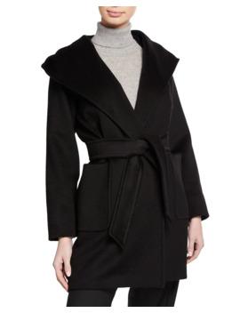 Rialto Camel Hair Belted Short Hooded Coat by Maxmara
