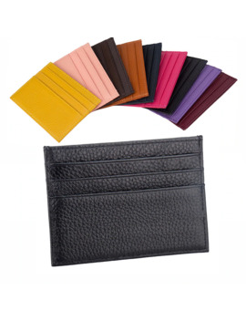 100% Genuine Cow Leather Id Card Holder Candy Color Bank Credit Card Gift Box Multi Slot Slim Card Case Custom Name Logo by Ali Express.Com