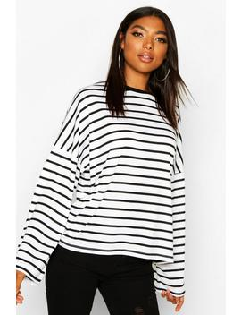 Tall Cotton Stripe Flared Sleeve Top by Boohoo