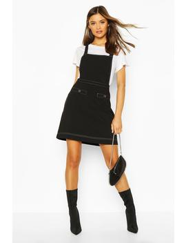 Contrast Stitch Pocket Pinafore Dress by Boohoo