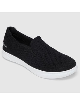 Women's S Sport By Skechers Slip On Knit Athletic Shoes   Black by Black