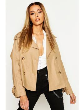 Double Breasted Belted Short Trench by Boohoo
