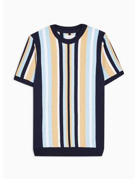 Blue And Toffee Stripe Short Sleeve Jumper by Topman