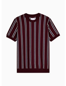 Short Sleeved Burgundy Striped Crew Jumper by Topman