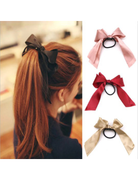 1 Pc Women Rubber Hair Bands Tiara Satin Ribbon Bow Rope Hair Scrunchies For Girls Elastic Ponytail Holder Gum Hair Accessories by Ali Express.Com