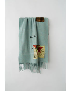 Flower Patch Fringed Scarf Pastel Green Melange by Acne Studios