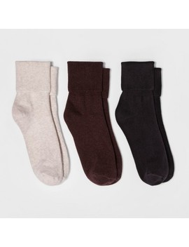 Women's 3pk Mary Jane Fold Over Cuff Socks   A New Day Brown Heather One Size by A New Day Brown Heather One Size