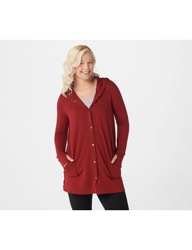 Cuddl Duds Comfortwear Snap Front Hooded Cardigan by Cuddl Duds