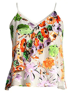 Lavonia Floral Cascading Ruffle Cami by Alice + Olivia