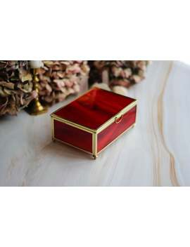 Red Box From Stained Glass And Brass Profile, Medium Size Square Brass Box, Golden Box, Ring Box, Square Ring Box, Brass Box, Jewelry Box, by Etsy
