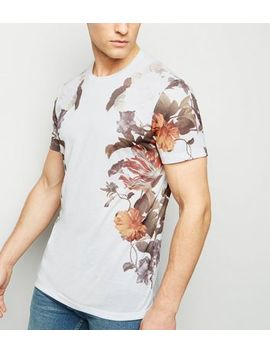 White Floral Print Side T Shirt by New Look