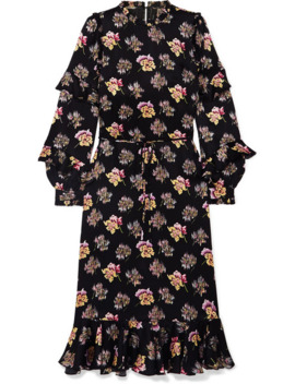 Bessie Ruffled Floral Print Satin Midi Dress by Needle & Thread