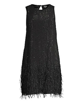 Allegra Beaded Feather Dress by Parker Black