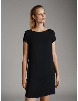 Czarna Sukienka Z KrÓtkim RĘkawem by Massimo Dutti