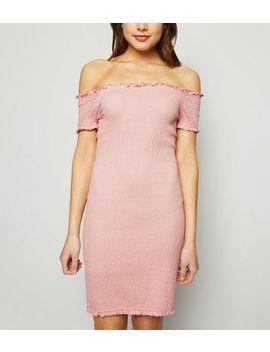 Pale Pink Bardot Shirred Jersey Mini Dress by New Look