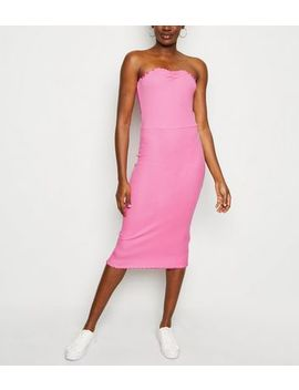 Bright Pink Frill Trim Jersey Midi Dress by New Look