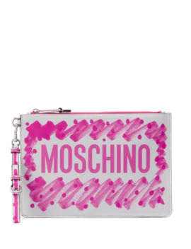 Brushstroke Logo Clutch by Moschino