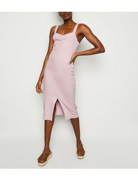 Pale Pink Ribbed Front Split Midi Dress by New Look