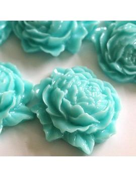 20pcs Turquoise Mum Peony Flower Cabochons 25mm by Etsy