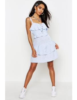 Ruffle Detail Gingham Skater Dress by Boohoo