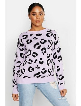 Leopard Knitted Sweater by Boohoo
