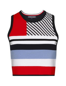 Pilaux Graphic Stripe Crop Top by Tommy Hilfiger