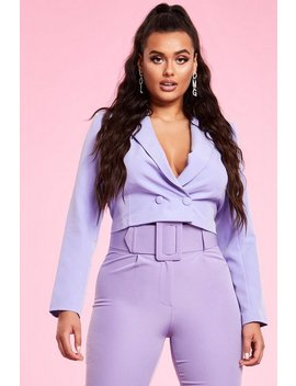Cropped Double Breasted Blazer by Boohoo