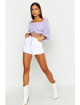 Woven Ruched Peasant Crop by Boohoo