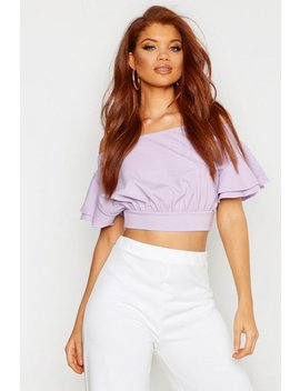 Crepe Off The Shoulder Ruffle Crop Top by Boohoo