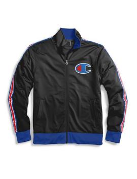 Champion Life® Men's Track Jacket Chain Stitch Big C Logo  Black by Champion