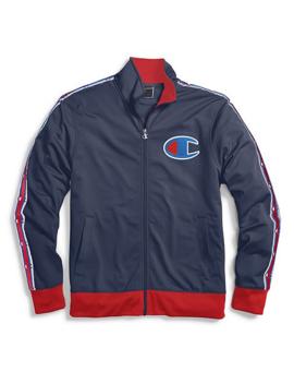 Champion Life® Men's Track Jacket, Chain Stitch Big C Logo  Indigo by Champion