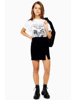 Petite Black Ribbed Mini Skirt by Topshop