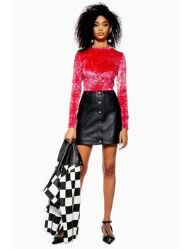 Petite Popper Pu Mini Skirt by Topshop
