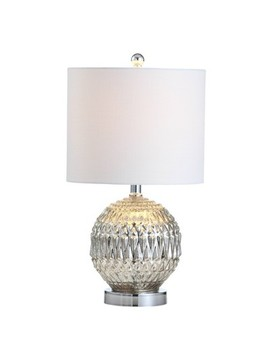 "20.5"" Krister Glass/Metal Led Table Lamp Silver (Includes Energy Efficient Light Bulb)   Jonathan Y by Jonathan Y"