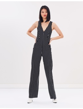 Striped Button Jumpsuit by Miss Selfridge
