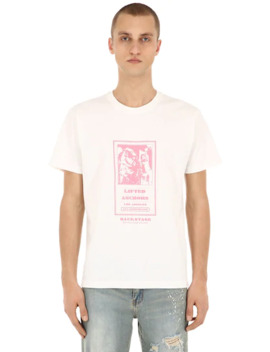 Backstage Printed Cotton Jersey T Shirt by Lifted Anchors