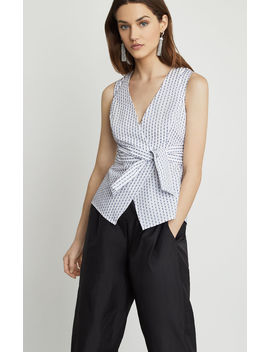 Ikat Stripe Faux Wrap Top by Bcbgmaxazria