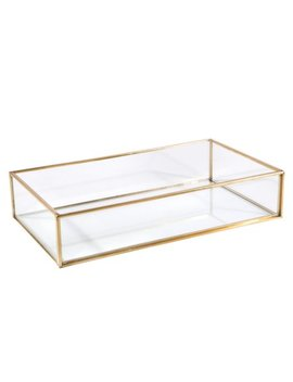Home Details Vintage   Copper Large Rectangle Glass Tray 9.4 X5.5 X1.9 Inch by Home Details
