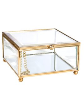 Home Details Vintage   Copper Oblong  Small Clear Glass W. Mirrored Bottom Bevelled Glass & Jewelry Box S by Home Details