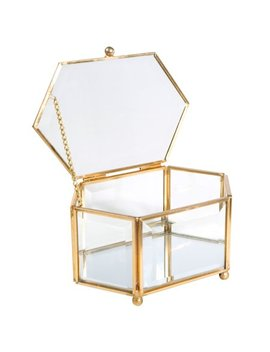 Home Details Vintage   Copper Hexagon Bevelled Glass & Mirrored Bottom W.Top Lid Jewelry Box by Home Details
